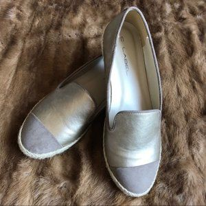 NIB Straw Brown Loafers Slide espadrille Metallic